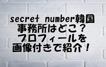 シークレットナンバー 韓国 事務所